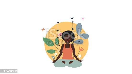 istock Illustration of meditation practice 1310068019