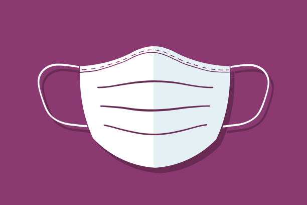 illustration of mouth protection face mask monochrome vector art illustration