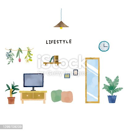 Illustration of natural and simple interior design