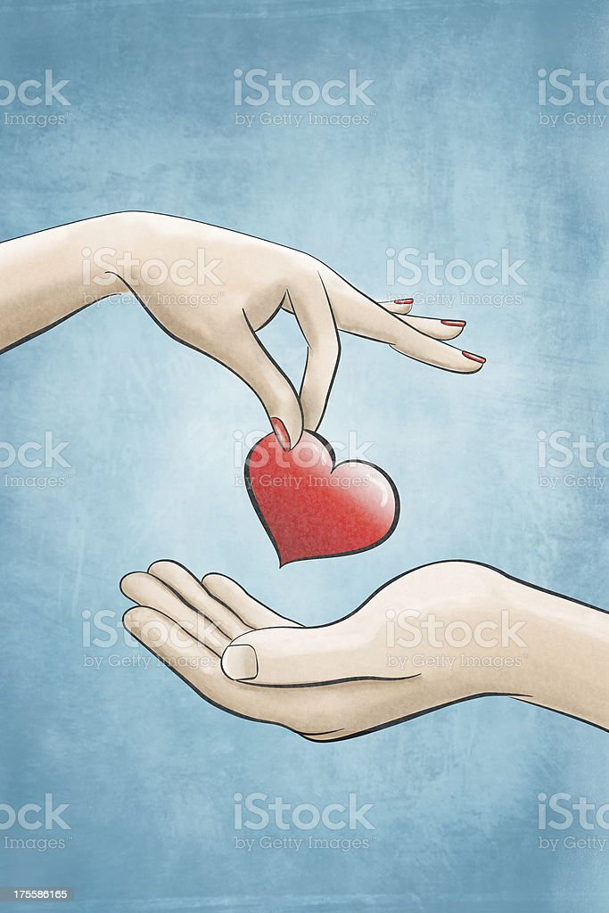 A illustration of one hand giving a heart to another vector art illustration