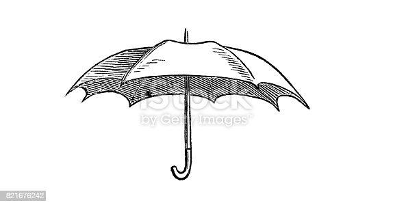 Illustration of opened umbrella - 1867
