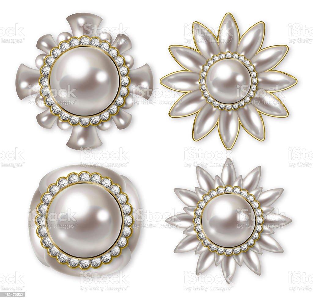Illustration of pearl buttons. vector art illustration