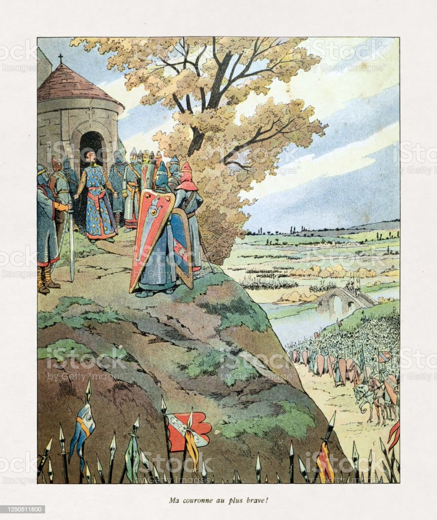 Illustration of Philip II of France offering his crown to the most valiant - Royalty-free 19th Century stock illustration