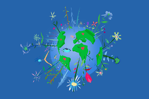 Illustration of planet Earth with floral motives