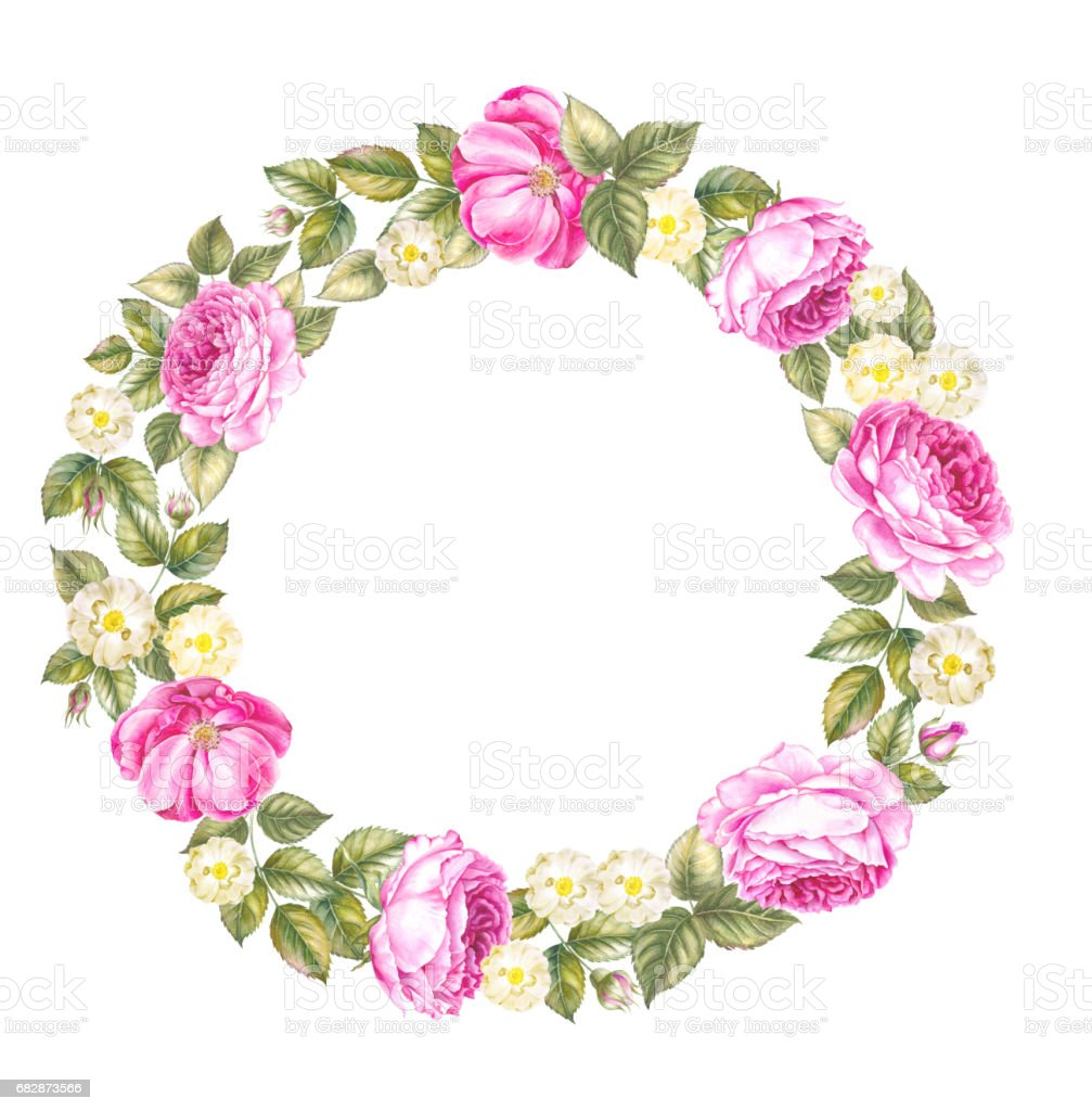 Illustration of red rose frame in the shape of circle. Retro round...