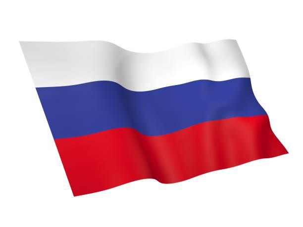ilustraciones, imágenes clip art, dibujos animados e iconos de stock de 3d ilustración de la bandera de rusia - bandera rusa