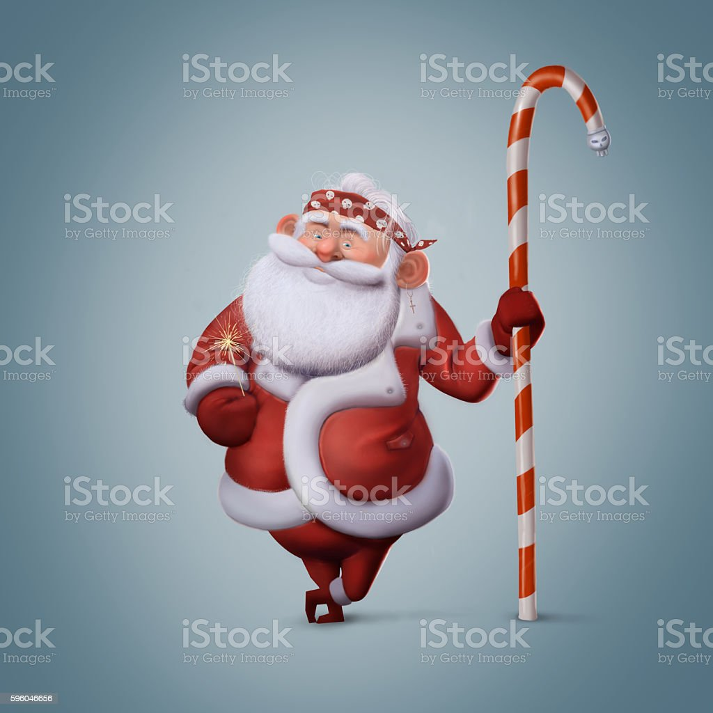 illustration of Santa Claus in a bandana, new year royalty-free illustration of santa claus in a bandana new year stock vector art & more images of backgrounds