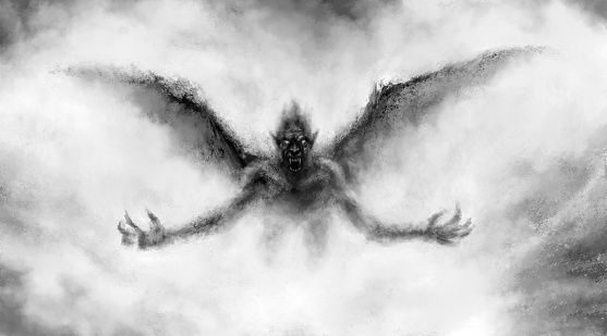 Illustration of scary flying vampire with wings.