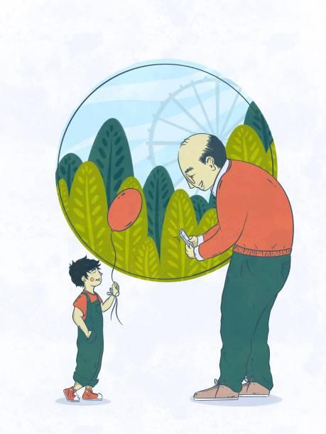 illustration of senior man taking photo of grandson - old man standing drawings stock illustrations, clip art, cartoons, & icons