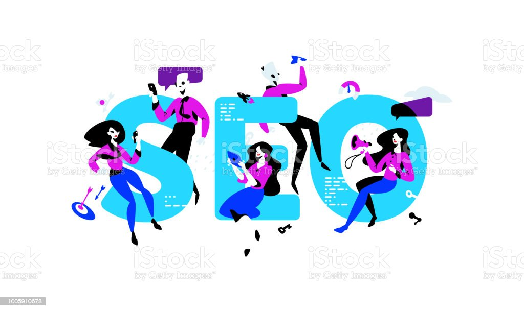Illustration of Seo Specialists.Employees in the office, around the inscription. Image is isolated on white background. PR specialists, advertisers. Banner for website and print. Characters.