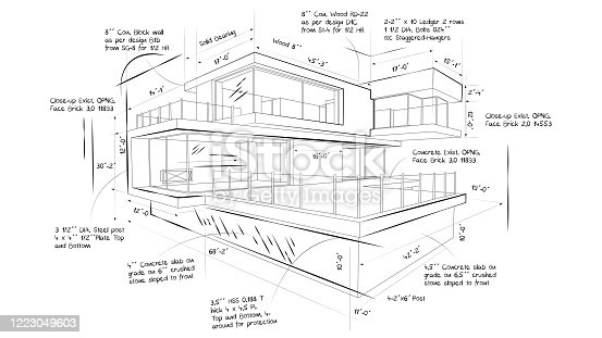 istock Illustration of the blueprint of a beautiful modern house 1223049603