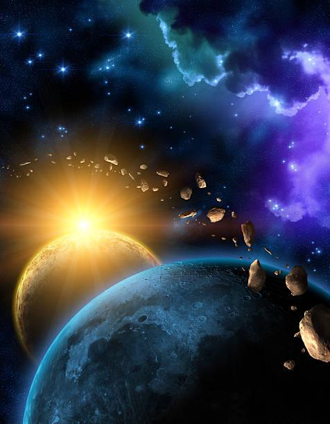 Illustration of the Earth, Moon, Sun and the asteroid belt vector art illustration