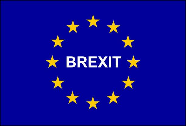 Abbildung der europäischen Flagge mit dem Vermerk Austritt – Vektorgrafik