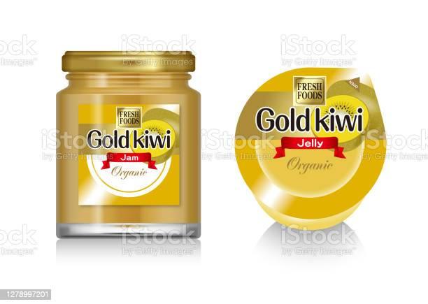 Illustration Of The Gold Kiwi Jelly And Gold Kiwi Jam Stock Illustration Download Image Now Istock