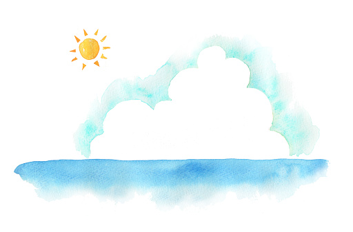 Illustration of the sea and sky in summer season
