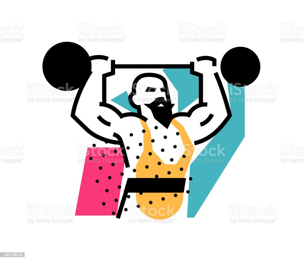 Illustration of the strongman, weightlifter, circus. Icon logo for circus or sports studio. An illustration for a site, a poster, a postcard. Image is isolated on white background. vector art illustration