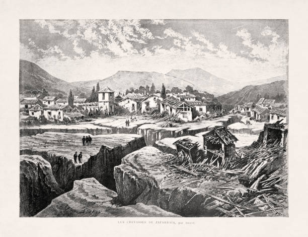 Illustration of the village of Zafarraya after the Andalusian earthquake vector art illustration