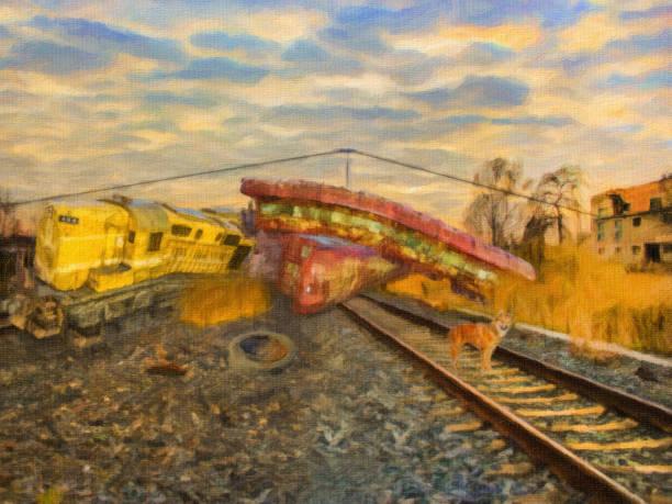 bildbanksillustrationer, clip art samt tecknat material och ikoner med illustration av trainwreck i tåg varvet - derail
