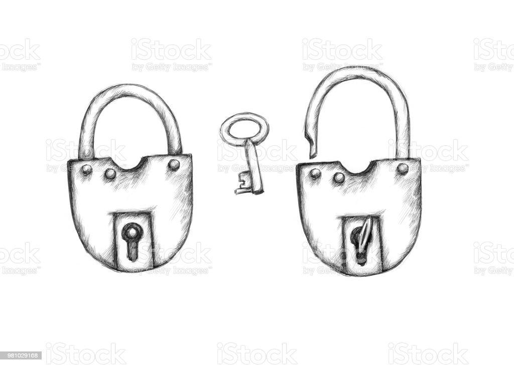 Illustration von zwei Vorhängeschlösser und einen Schlüssel – Vektorgrafik