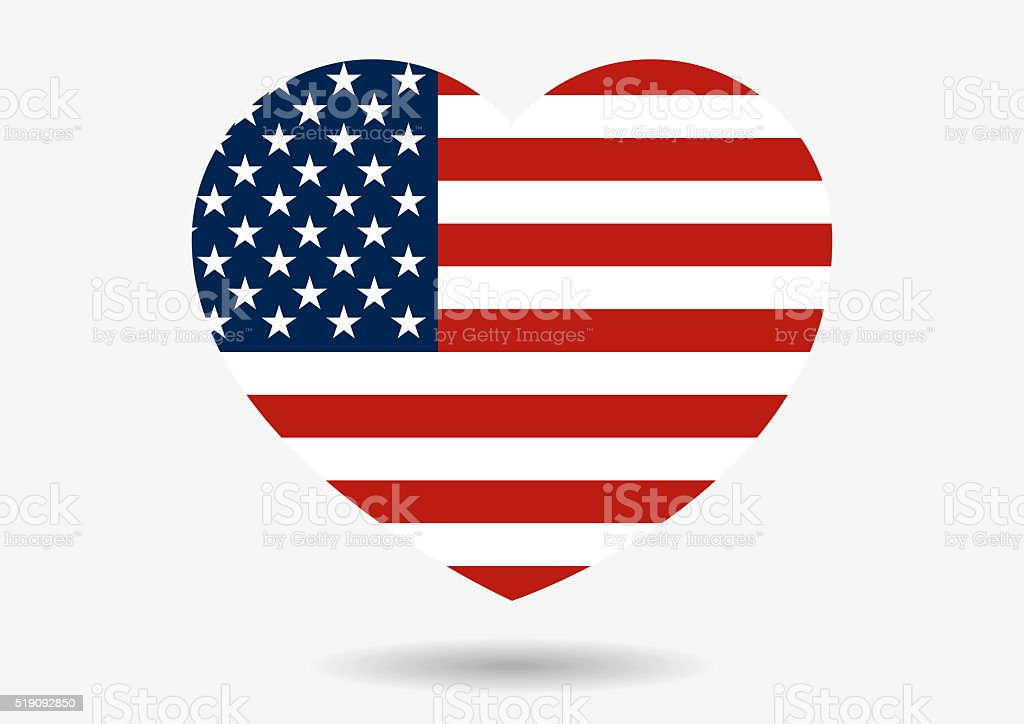 Illustration of USA flag in heart shape with shadow vector art illustration
