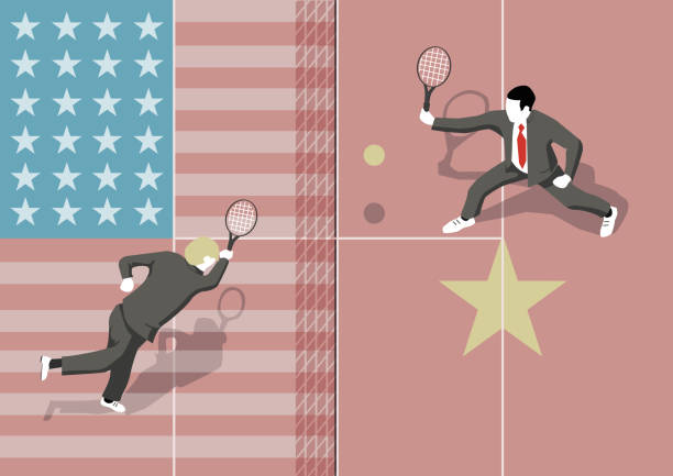 illustration of USA vs China match A Concept illustration of a tennis match between USA and China due to trade war and other economic problems. trade war stock illustrations