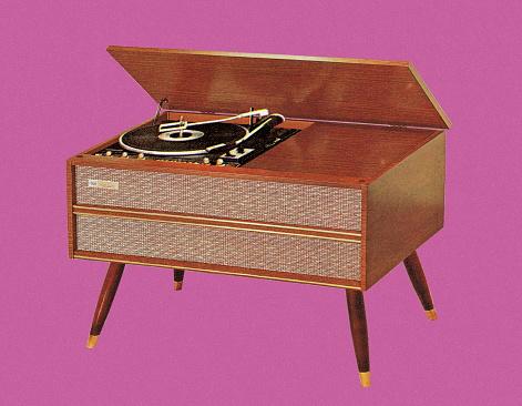 Illustration of vintage turntable