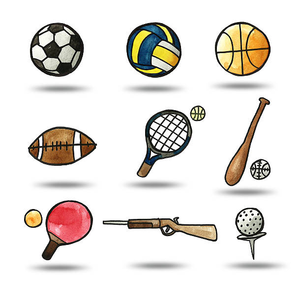 illustration of watercolor painting sport object vector art illustration