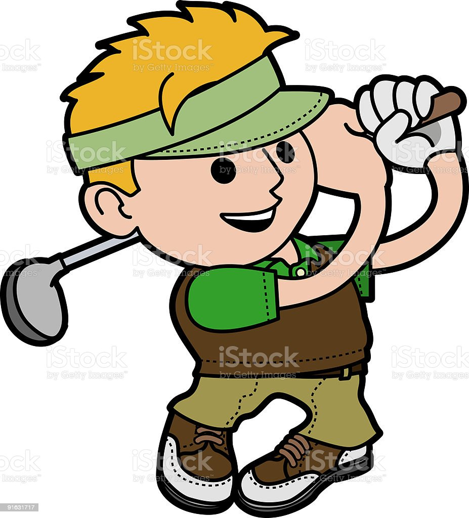 Illustration of young man golfing royalty-free stock vector art