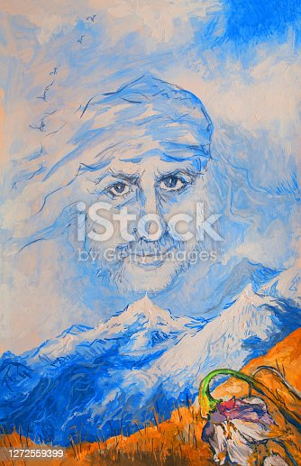 Fashionable spring illustration allegory of the wind modern art work my original oil painting on canvas surrealism portrait of a man painted in the form of wind and clouds in the sky against a mountain landscape in spring with a field of flowers and snow-capped mountains in the distance