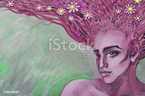 istock illustration oil painting portrait of a woman with long hair from blooming daisies on a background of bright spring blooming earth 1299268381