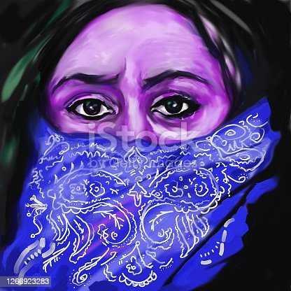 Fashion illustration modern work of art allegory of illness oil painting on canvas impressionism portrait of an elderly woman protecting the respiratory tract from coronavirus covering her face with a scarf on a dark background in blue and purple evening tones