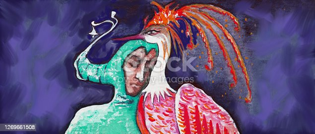 istock Illustration painting with watercolor portrait of man in the image of Harlequin in a stage costume and a headdress and a magic bird 1269661508