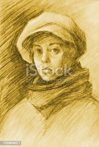istock Illustration  pencil drawing portrait  woman in a warm scarf and cashmere cap with a visor on a background of pencil-hatched paper 1253846071
