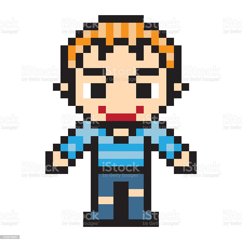 Illustration Pixel Art Design Man Stock Illustration