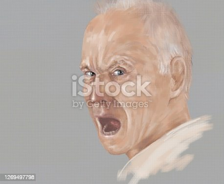 Fashionable illustration modern art allegory of aggression and scream oil painting on canvas impressionism my original horizontal portrait of a screaming man on a gray cloudy rainy evening background