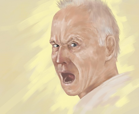 Illustration portrait of a screaming man on a   summer yellow background