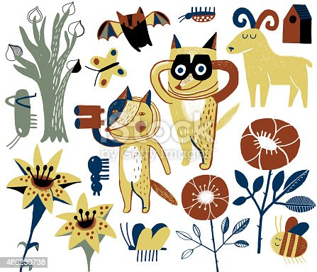 Hand drawn set of animals, insects and plants: aspen, wild rose, tiger lily. Coyotes with binoculars watching birds and insects