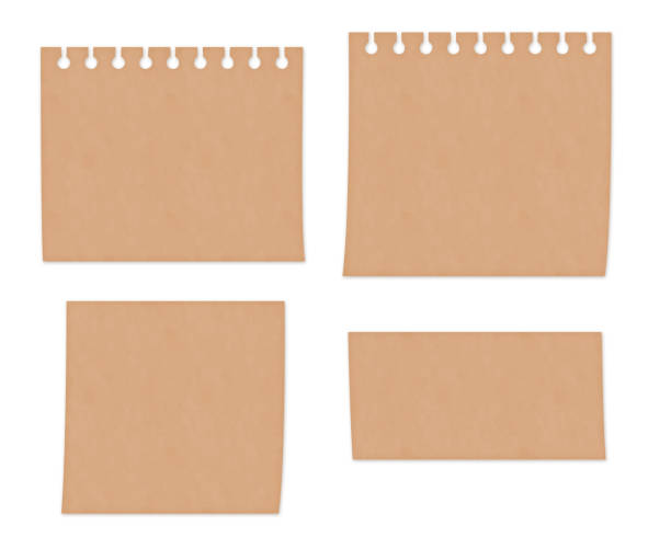 Illustration set of craft paper style memo paper vector art illustration