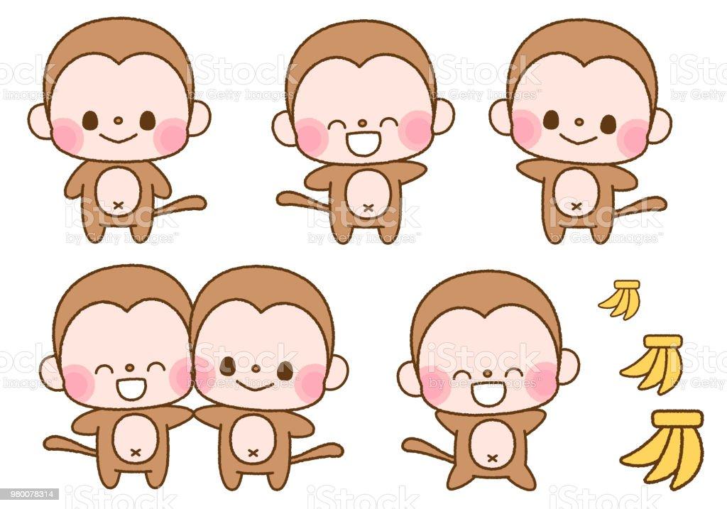 Illustration set of monkey character vector art illustration