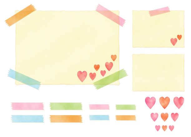 Illustration set paper, masking tape, and water color style heart icon vector art illustration