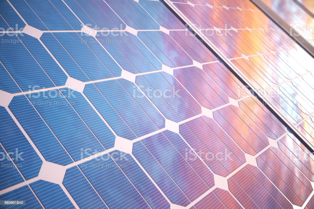 3D illustration solar power generation technology. Alternative energy. Solar battery panel modules with scenic sunset with blue sky with sun light. vector art illustration