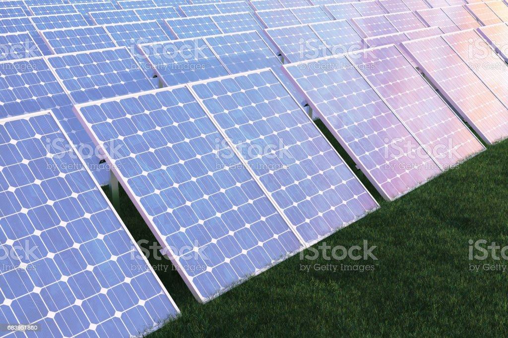 3 D イラストレーションの太陽光発電技術代替エネルギー太陽の光と青い空