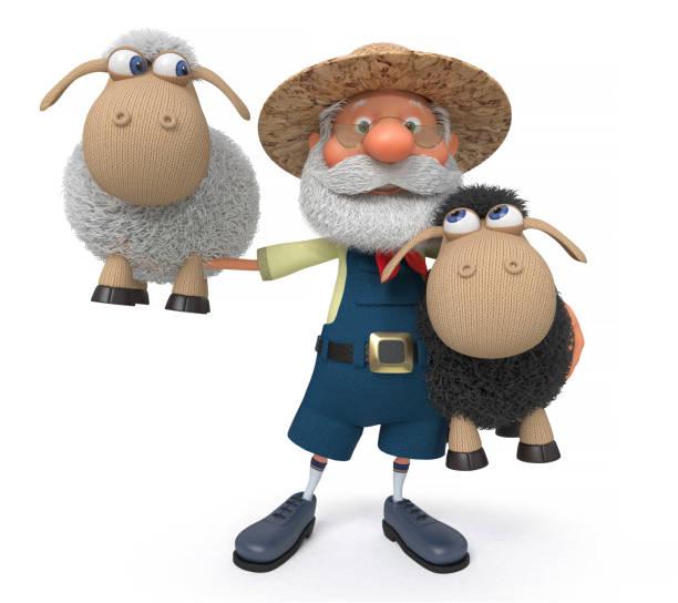 3 D イラストレーションと子羊農民 ベクターアートイラスト