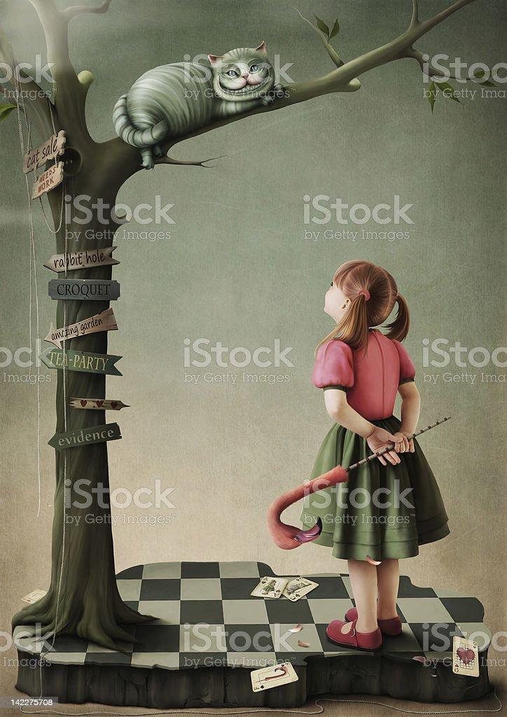 Illustrazione per la fiaba Alice nel Paese delle meraviglie. - illustrazione arte vettoriale