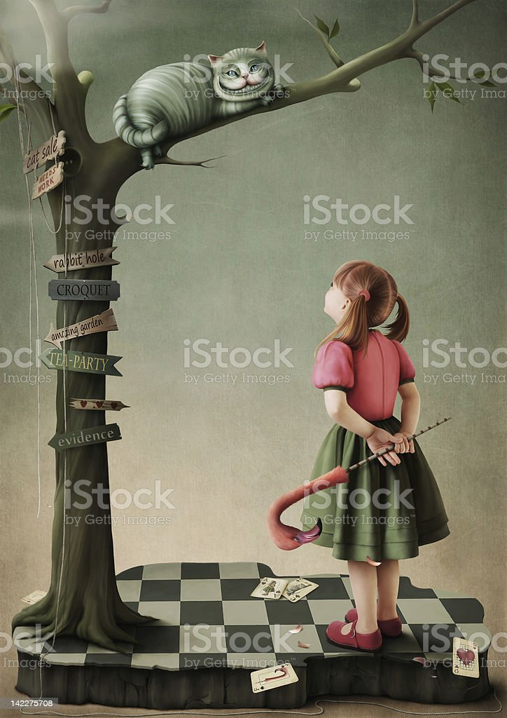 Illustration to the fairy tale Alice in Wonderland. vector art illustration