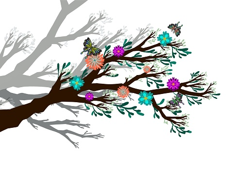 illustration tree with colorful leaves, flowers and butterflies. Silhouette on white background.