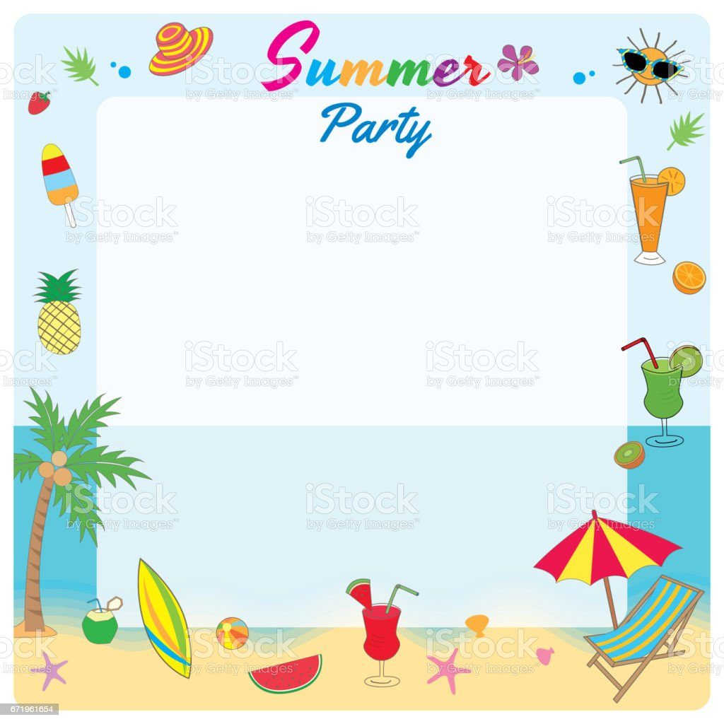 Illustration Vector Symbol Of Summer Party Decorated To Frame On ...