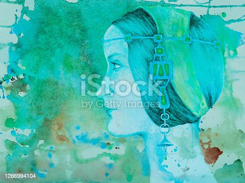 Illustration watercolor portrait of a woman profile in jewelry on a background of flowing watercolor in blue tones