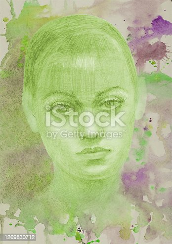 istock Illustration watercolor portrait of a young blonde woman on a background of colored flowing watercolor spots on paper in green colors 1269830712