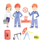 illustration watercolor profession oilman